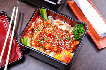 Japanese food: smoked eel with rice