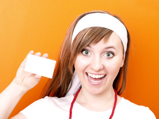 Woman with white business card.