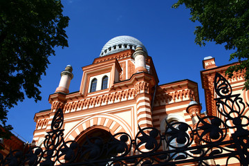 Panoramic sky view of the petersburg synagogue, Russia.
