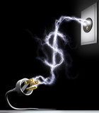 Spend Energy. Electricity forming the sign of US dollars. poster