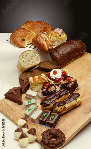 Sweets and breads from bakery