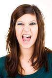 Fototapety Freches Mädchen streckt Zunge mit Piercing heraus und zwinkert