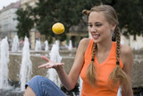 Juggle with a lemon poster