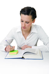Happy young woman reading books - isolated