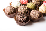 Delicious handmade chocolates composition poster