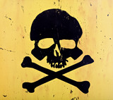 skull and crossbones from an aged sign poster