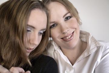 Portrait of two women in love