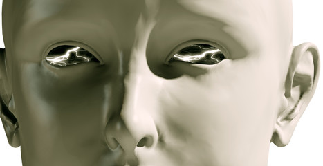 close-up girl head with lighting eyes (computer-generated image)
