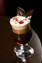 coffee cappuccino with cherry and chocolate chips