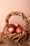 Woven Christmas basket on an old rustic bench poster