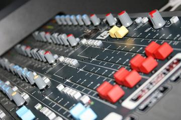 Broadcast radio sound audio mixer board