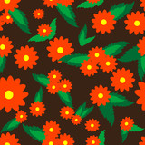 Vivid, colorful, repeating flower background poster