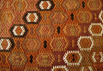 Traditional Anatolian Wool Carpet Detail with Tribal Design