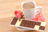 cup of coffee and box of chocolates - I love you poster