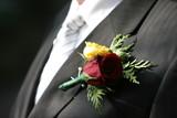 tux, tie, shirt, boutinerre, flower, groom poster