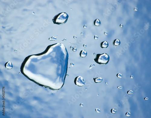 Abstract water heart and drops. Valentine concept
