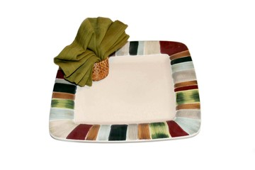 Decorative plate with napkin holder