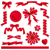 Red ribbon embellishments - bows, banners, award, heart, flower poster