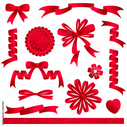 Red ribbon embellishments - bows, banners, award, heart, flower