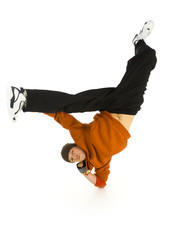 Young bboy standing on one elbow. Holding legs in air.