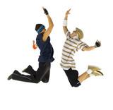 Fototapety Two bboys freezed in jump