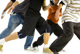 Fototapety Group of young men standing in bboys pose