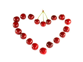Valentine from ripe cherries. Love.