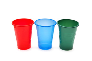 Three plastic cups isolated on the white