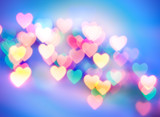 Abstract blurred background (natural heart shaped bokeh) poster