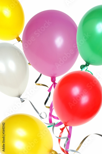 Colorful balloons with ribbon isolated on white background
