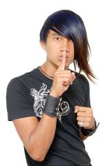 Asian punker or emo hushing teenager