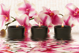 Aromatherapy candles and pink orchid poster