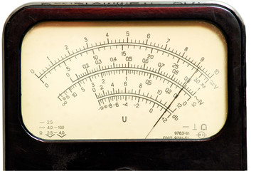 Vintage analog scale with pointer in right half of scale