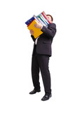 Businessman with pile of ring binders poster