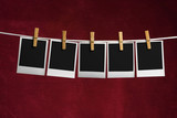 five palaroid blank attach to rope clothes peg poster