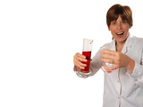 excited young scientist pours liquid poster