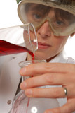 confident lady technician pouring liquid poster