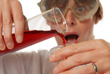 horrified lady technician pouring liquid poster