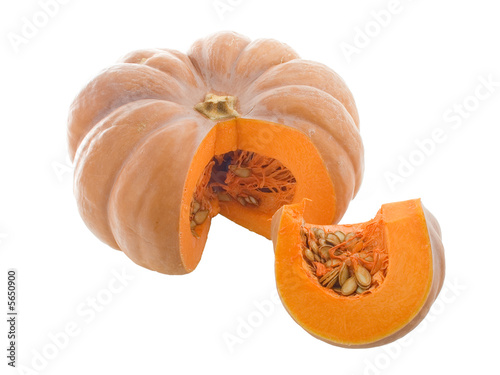 Close-up view of pumpkin isolated on white
