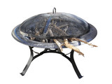 Fire Pit with Wood and Charcoal; isolated, clipping path poster