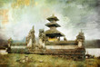 Quadro Balinese temple beside lake - picture in painting style