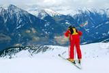 Skyer on the slope in Badgastein, Austria poster