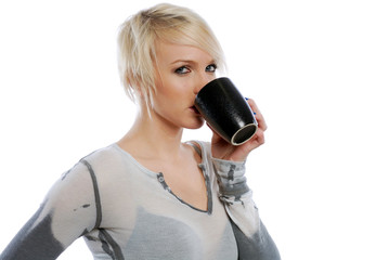 Beautiful Blonde woman with cup of coffee