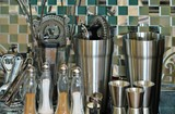 Set for cooking utensils of stainless steel poster