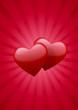 Coeurs rouge et fond rouge