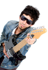 casual guy with an electric guitar