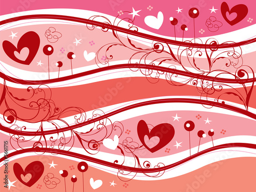 pink valentine hearts and curvy swirls