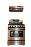 Isolated stainless steel range and hood poster