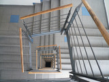 the spiral staircase with banisters . poster