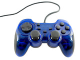 blue video game controller detail for console poster